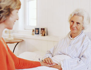 Home care giver with senior female